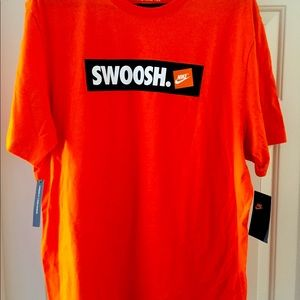 Nike Box Logo Sticker Orange T Shirt XL
